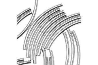 Angel Malone ® 30 x Bright Silver Plated CURVED NOODLE TUBE Brass Spacer Beads Jewellery Making Findings, 30mm x 2mm