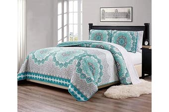 "(King/California King, Aqua Grey Floral) - Fancy Collection 3 Pc King/California King Over Size Quilted Bedspread Set Aqua Turquoise Coastal Plain/""Grey Green"" White Elegant Design New"
