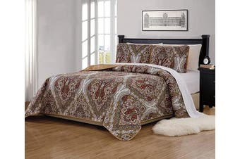 (King/California King, Portia) - Fancy Collection 3 Pc Floral Quilted Bedspread Set King/California King Brown White Green Taupe Reversible New