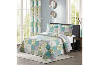 (King / Cal King Size, Blue/Green & Yellow) - All American Collection New 3pc Printed Modern Geometric Bedspread Coverlet (Over-Sized King/Cal King)