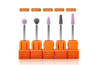 Mioblet 5Pcs/Set Ceramic Stone Nail Drill Bits 0.2cm Rotate Burr Cuticle Milling Manicure Machines Accessories Nail Art Polishing Tools