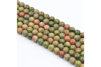 (8mm, Flower Green) - Asingeloo Flower Green Natural Stone Gemstone Loose Round Beads 15.7 Inch 8mm Crystal Energy Stone Healing Power for Jewellery Making