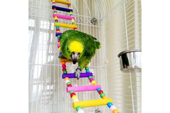 (8 Ladders 60cm ) - Mrli Pet Ladder Bird Toys for Bird Parrot Macaw African Greys Budgies Cockatiels Parakeet Hamster Rat Crawling Rainbow Bridge Wooden Cage Funny Perch Trainning Swing Toys