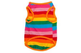 (XL) - BUYITNOW Rainbow Stripe Pet Vest Breathable Summer Cotton Sleeveless T-Shirt Small Dog Cat Clothes