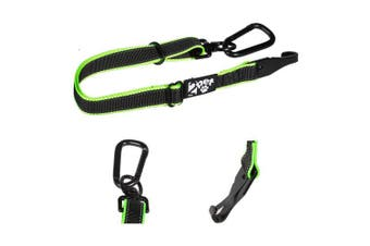 Dog Seatbelt Strap by 2PET - Adjustable Dog Seat Belt for all Breeds – Use With Harness – All Car Makes – Carabiner Clip Leash – Green and Black