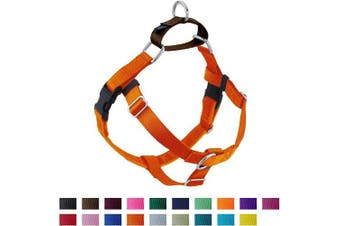 (LG (Chest 70cm  - 80cm ), Orange) - 2 Hounds Design Freedom No Pull Dog Harness, Adjustable Gentle Comfortable Control for Easy Dog Walking, for Small Medium and Large Dogs, Made in USA