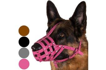 (M, Pink) - Dog Muzzle German Shepherd Dalmatian Doberman Setter Leather Basket Medium Large Breeds Black Brown
