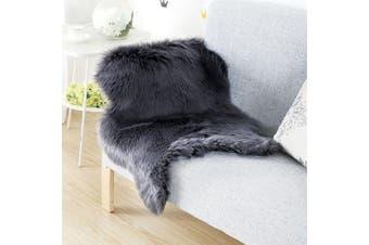 (Black, 75 x 120 cm) - KAIHONG Faux Fur Sheepskin Style Rug (75 x 120 cm) Faux Fleece Chair Cover Seat Pad Soft Fluffy Shaggy Area Rugs For Bedroom Sofa Floor (black)