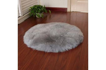 (Round Gray, 60 x 60 cm) - KAIHONG Faux Fur Sheepskin Style Rug (60 x 60 cm) Faux Fleece Chair Cover Seat Pad Soft Fluffy Shaggy Area Rugs For Bedroom Sofa Floor (Round Grey, 60 x 60 cm)