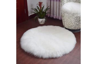 (Round White, 60 x 60 cm) - KAIHONG Faux Fur Sheepskin Style Rug (60 x 60 cm) Faux Fleece Chair Cover Seat Pad Soft Fluffy Shaggy Area Rugs For Bedroom Sofa Floor (Round White, 60 x 60 cm)
