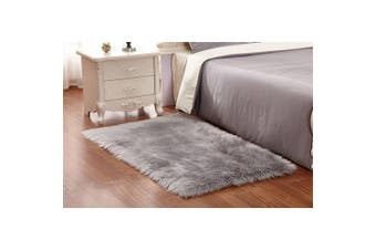 (Grey) - TIDWIACE Faux Fur Grey Rug Soft Fluffy Rug Shaggy Rugs Faux Sheepskin Rugs Floor Carpet for Living Room Bedrooms Decor,60 X 90 cm