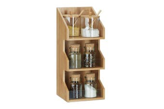 Relaxdays 3-Tier Bamboo Organiser, Office Stationery Filing Cabinet, Spice Rack, HWD 41 x 18 x 17 cm, Natural