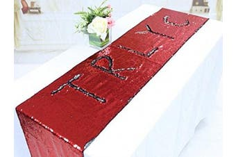 (30cm  x 150cm , Red and Silver) - TRLYC 30cm by 150cm Red and Silver Two Colour Change Mermaid Sequin Table Runners for Baby Shower