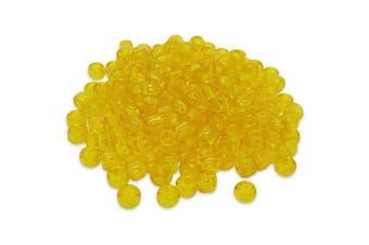 (Yellow, 6 x 8 mm) - Beads Unlimited Transparent Plastic Barrel Pony, Yellow, 6 x 8 mm