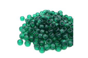 (Green, 6 x 8 mm) - Beads Unlimited Transparent Plastic Barrel Pony, Green, 6 x 8 mm