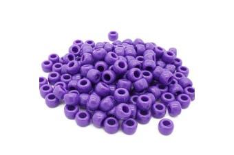 (Purple, 6 x 8 mm) - Beads Unlimited Opaque Plastic Barrel Pony, Purple, 6 x 8 mm