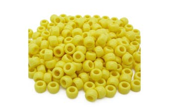(Yellow, 6 x 8 mm) - Beads Unlimited Opaque Plastic Barrel Pony, Yellow, 6 x 8 mm