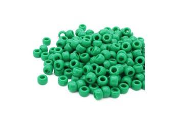 (Green, 6 x 8 mm) - Beads Unlimited Opaque Plastic Barrel Pony, Green, 6 x 8 mm