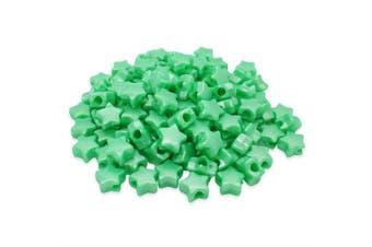 (Green, 13 mm) - Beads Unlimited Bath Pearl Plastic Star Pony, Green, 13 mm