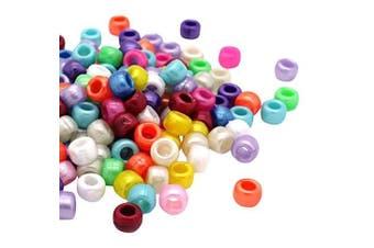 (Mix, 6 x 8 mm) - Beads Unlimited Bath Pearl Plastic Barrel Pony, Mix, 6 x 8 mm