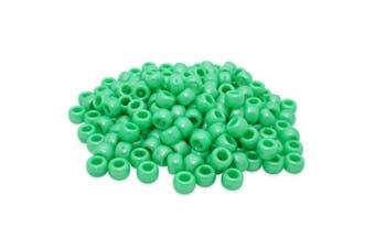 (Green, 6 x 8 mm) - Beads Unlimited Bath Pearl Plastic Barrel Pony, Green, 6 x 8 mm