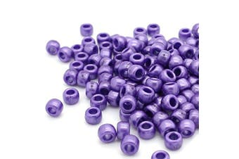 (Purple, 6 x 8 mm) - Beads Unlimited Bath Pearl Plastic Barrel Pony, Purple, 6 x 8 mm