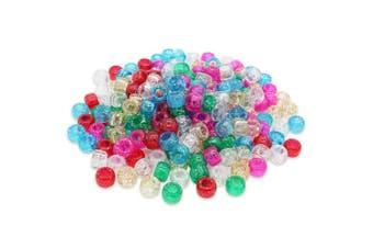 (Mix, 6 x 8 mm) - Beads Unlimited Glitter Plastic Barrel Pony, Mix, 6 x 8 mm