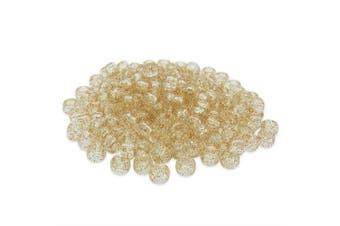 (Gold, 6 x 8 mm) - Beads Unlimited Glitter Plastic Barrel Pony, Gold, 6 x 8 mm