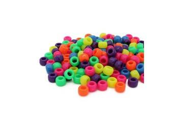 (Mix, 6 x 8 mm) - Beads Unlimited Neon Plastic Barrel Pony, Mix, 6 x 8 mm