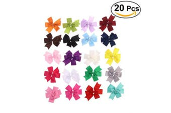 YeahiBaby 20 Colours Boutique Hair Bows Clip Grosgrain Ribbon Hair Clips for Toddler Kids