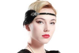 (Black) - ArtiDeco 1920s Headpiece Vintage 1920s Flapper Headband Feather Crystal Headband Great Gatsby Costume Accessories Roaring 20's Accessories