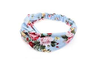 (Blue) - Boolavard Women Headband Boho Floral Style Criss Cross Head Wrap Hair Band