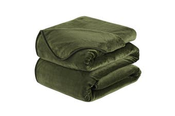 "(King (230cm -by-270cm ), Green) - Soft Blanket King Size Fleece Warm Fuzzy Throw Blankets For The Bed Sofa Lightweight 350GSM HOZY Green 90""108"""