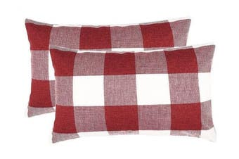 (30cm  x 50cm ,Set of 2, Red White Plaids) - 4TH Emotion Set of 2 Red and White Buffalo Cheque Plaid Throw Pillow Covers Cushion Case Cotton Linen for Christmas Home Decor, 30cm x 50cm