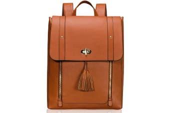 (brown) - Estarer Women PU Leather Backpack 40cm Laptop Vintage College School Rucksack Bag (brown)