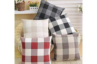 (46cm  x 46cm ,Set of 2, Beige) - 4TH Emotion Set of 2 Beige and White Buffalo Cheque Plaid Farmhouse Throw Pillow Covers Cushion Case Cotton Linen for Sofa, 46cm x 46cm