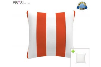 (Stripe Orange & White) - Indoor/Outdoor Throw Pillow with Insert 46cm x 46cm Decorative Square (Orange & White, Stripe) Cushion Covers Pillow Sham for Couch Bed Sofa Patio by FBTS Prime