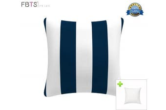 (Stripe Navy & White) - Indoor/Outdoor Throw Pillow with Insert 46cm x 46cm Decorative Square (Navy & White, Stripe) Cushion Covers Pillow Sham for Couch Bed Sofa Patio Furniture by FBTS Prime