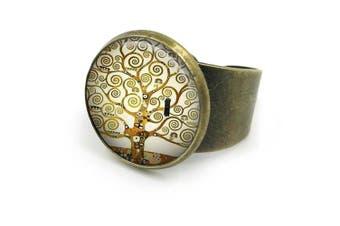 (Silver) - Tree of Life Gustav Klimt Ring| tree of life jewellery| tree-of-life| tree-of-life ring| adjustable ring| gift for wife| Gift for Her| 39