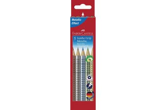 Faber-Castell 110993 5 Jumbo Grip Metallic Colour Pencil