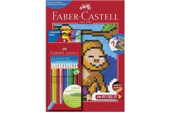 Faber-Castell 201571 Pixel-It Colouring Book with 12 Colour Grip Pencil