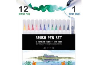 (Essential) - Stationery Island Brush Pens Real Brush Tips – Watercolour Pens Pack of 12 + 1 Aqua Brush