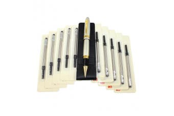 (Silver pen and Gold buckle) - Abcsea 1PCS Heavy Big Rollerball Pen 159 and 10PCS Black Ink Rollerball Pen Refill, Spiral Ballpoint Pen Refills with Cover, Medium Point - Silver Pen and Black Spiral Refills (0.5MM)
