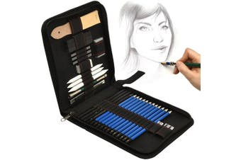 33 pcs. Artina Pencil Set Bari - Sketching Pens & Graphite Pencils & Charcoal + Many Accessories in Quality Etui