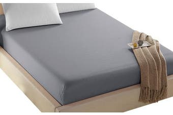 (California King, Gray) - 4U Life Bedding Fitted sheet-Prime 1800 Series , Double Brushed Microfiber,Ultra-soft Feel And Wrinkle,Fade Free , Deep Pocket For Oversized Mattress (Cal-King, Grey)