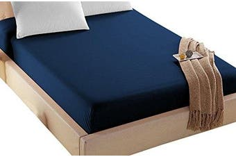 (Queen, Navy) - 4U Life Bedding Fitted sheet-Prime 1800 Series , Double Brushed Microfiber,Ultra-soft Feel And Wrinkle,Fade Free , Deep Pocket For Oversized Mattress, Queen, Navy