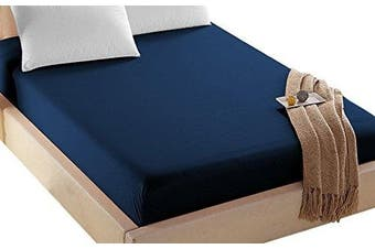 (Twin, Navy) - 4U Life Bedding Fitted sheet-Prime 1800 Series , Double Brushed Microfiber,Ultra-soft Feel And Wrinkle,Fade Free , Deep Pocket For Oversized Mattress