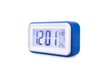 Digital Alarm Clock, VADIV CL01 Silent Alarm Clock with Touch Sensor Snooze Night Light Large LCD Screen Display Time Date Calendar Temperature for Bedroom Kids-Dark Blue