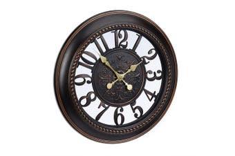 (Brown) - Relaxdays XL Wall Clock Vintage Style, Quiet Hanging Clock in Romantic Design. Diameter 56 cm, Brown