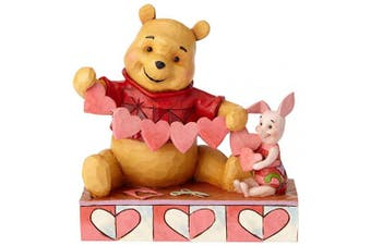 (Valentines Pooh and Piglet) - Disney Traditions Handmade Valentines Pooh and Piglet Figurine, Resin, Multi-Colour, 135 x 70 x 140 cm